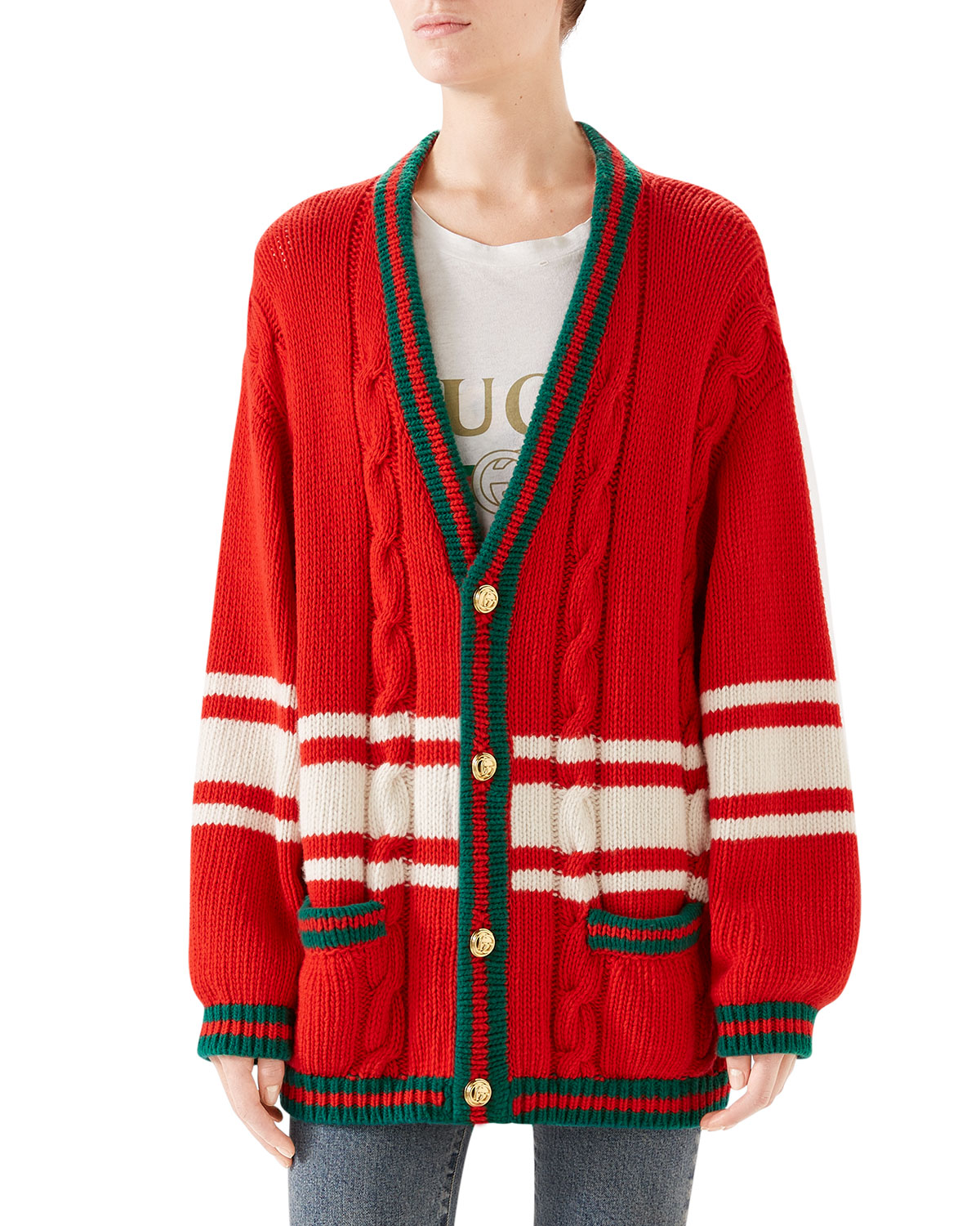 68c93114bd9 Gucci Wool Patchwork Cardigan