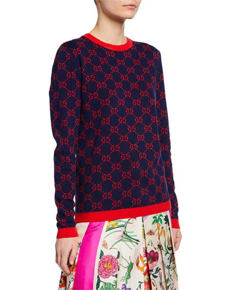 Gucci Logo-Jacquard Crewneck  Sweater