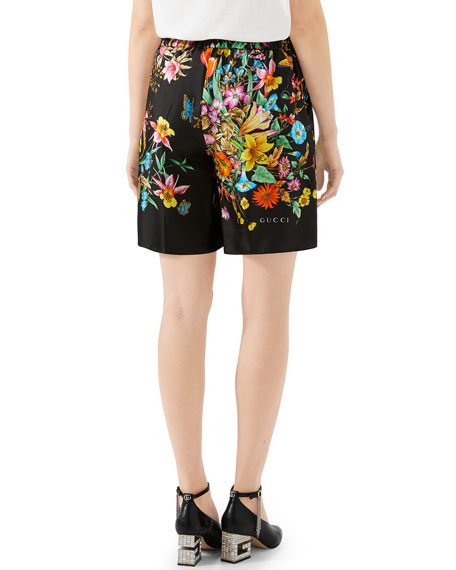 Gucci Bouquet Carre Silk Twill Shorts