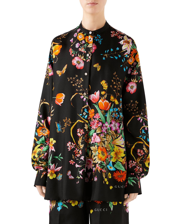 45a6ff3c Gucci Oversized Bouquet-Print Silk Shirt | Neiman Marcus