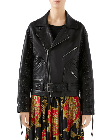 Gucci Oversized Hand-Painted Soft-Leather Biker Jacket