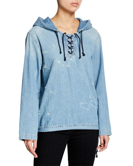 Saint Laurent Distressed Denim Lace-Up Hoodie