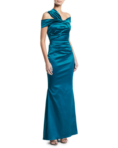 Sole Asymmetric-Shoulder Stretch Satin Mermaid Gown
