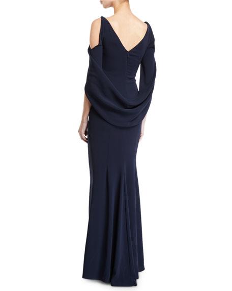 Talbot Runhof Ponceau Open-Shoulder Draped-Waist Gown