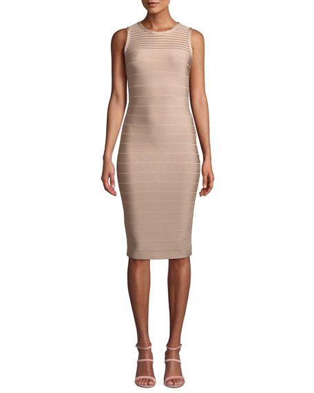 Herve Leger Sleeveless Tulle Striped Illusion Cocktail
