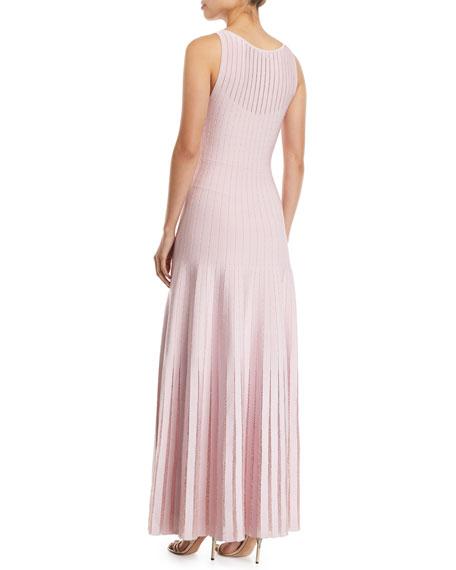 Zac Posen Knit-Striped Tulle-Trim Illusion Gown
