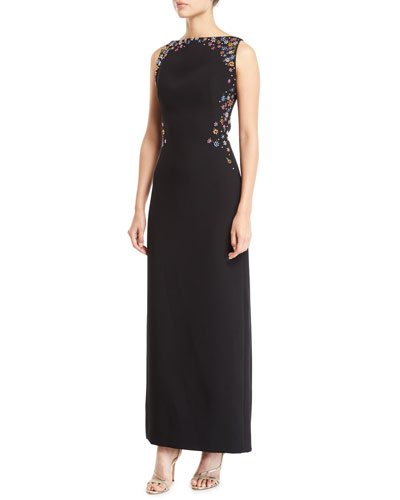Embroidered Bateau Neck Sleeveless Gown