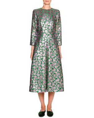 f13834a3 Double J Little Miss Floral Jacquard 3/4-Sleeve Midi Dress