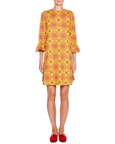 247 1/2-Sleeve Printed Shift Dress