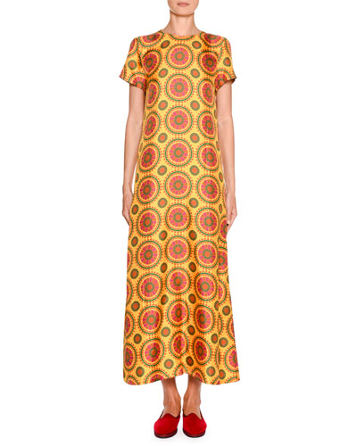 Short-Sleeve Printed Maxi Swing Dress