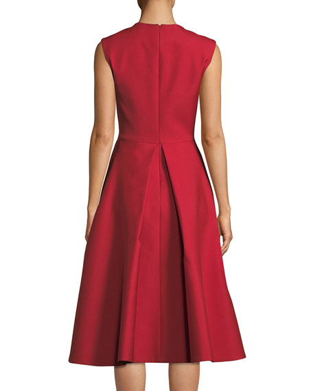 Image 2 of 3: Zac Posen Floral-Embroidered Beaded A-Line Dress with Pockets