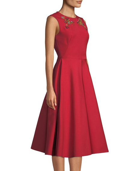 Image 3 of 3: Zac Posen Floral-Embroidered Beaded A-Line Dress with Pockets