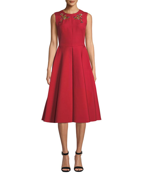 Image 1 of 3: Zac Posen Floral-Embroidered Beaded A-Line Dress with Pockets