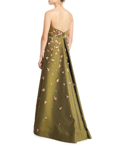 Zac Posen Strapless A-line Embroidered Gown
