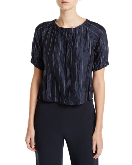 Emporio Armani Striped Crinkled Button-Front Blouse