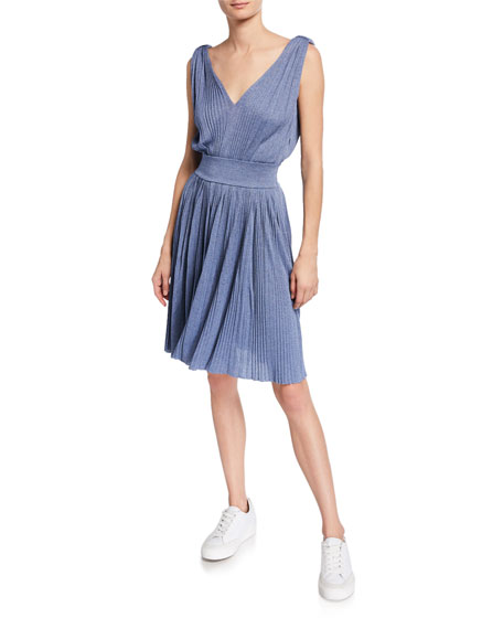 Emporio Armani V-Neck 3/4-Sleeve Knit Fit-and-Flare Dress
