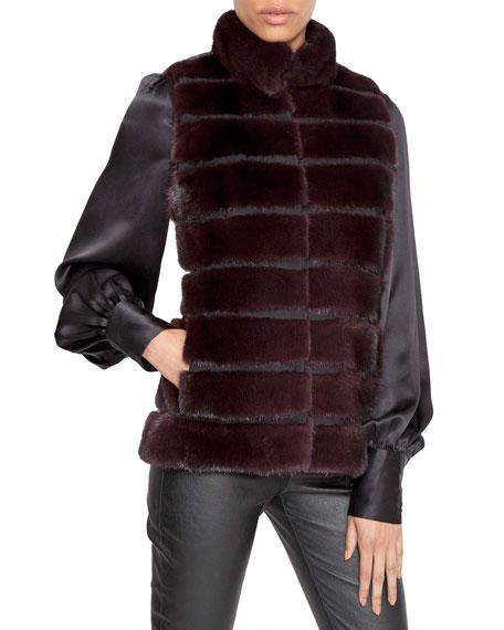Norman Ambrose Horizontal Quilted Mink Fur Vest