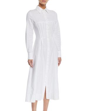 17a0285fba8e0 Gabriela Hearst Eugene Long-Sleeve Corset Shirtdress