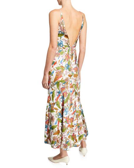 Gabriela Hearst Bridget Tropical Print Sleeveless V-Neck Dress