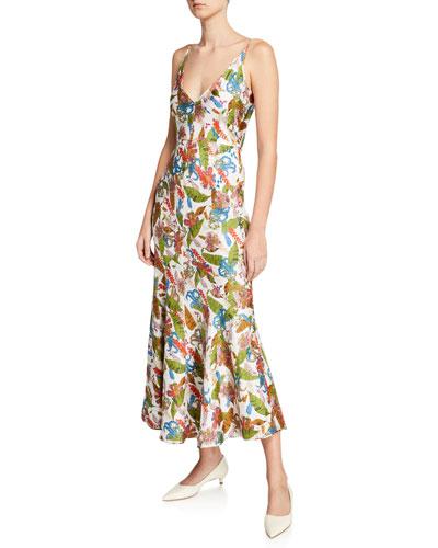 Bridget Tropical Print Sleeveless V-Neck Dress