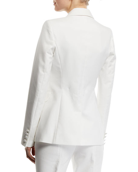 Image 2 of 2: Sophie Single-Breasted Cotton Blazer Jacket