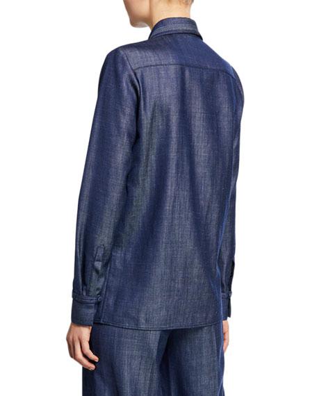 Gabriela Hearst Cruz Long-Sleeve Button-Front Twill Blouse