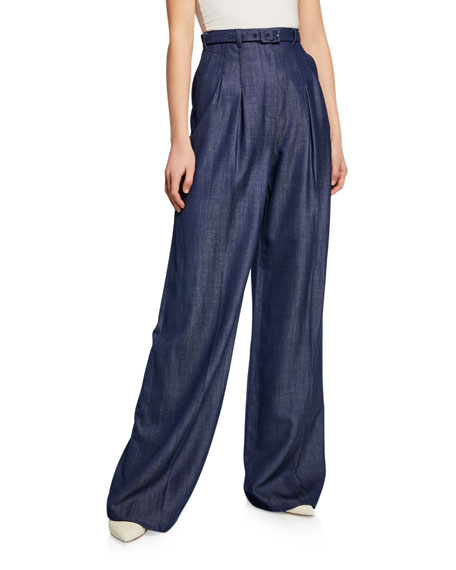 Gabriela Hearst Vargas Wide-Leg Pleated Front High-Rise Pants