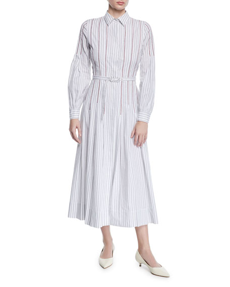 Gabriela Hearst Chelsea Long-Sleeve Striped Shirtdress