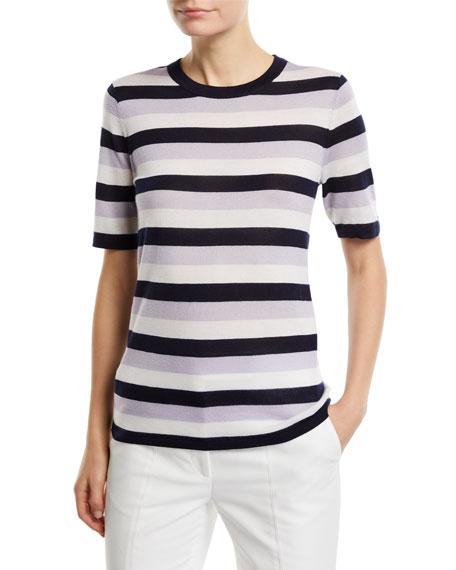 Gabriela Hearst Fergus Striped Cashmere/Silk Sweater Top