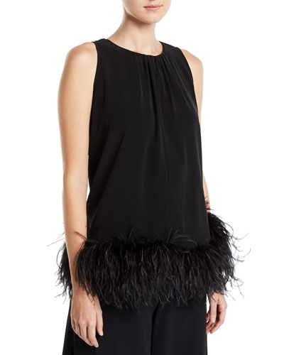 Feathered Sleeveless Halter Swing Blouse