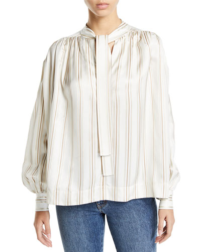 Tie-Neck Striped Twill Poet Blouse