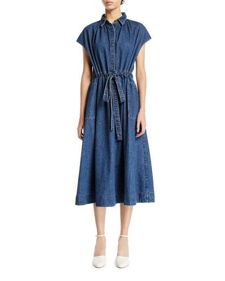 Co Cap-Sleeve Drawstring-Waist Denim Shirtdress