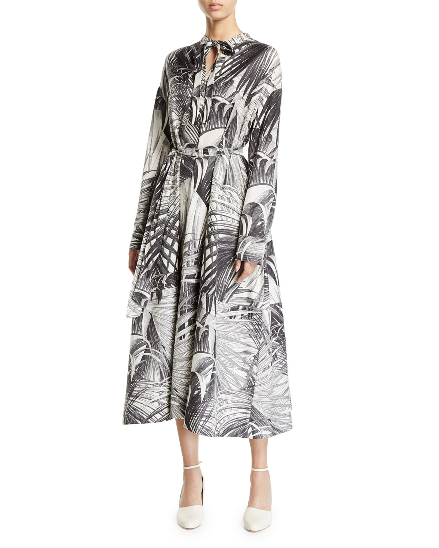 20fd3e0e3d9 Co Long-Sleeve Palm Print Tie Neck Dress