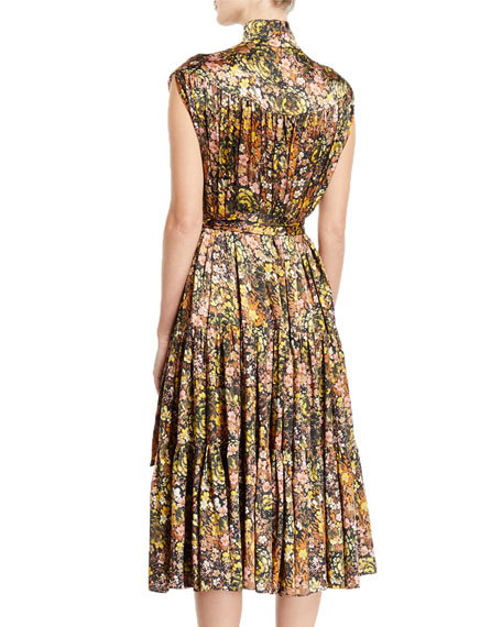 Co Sleeveless Mock-Neck Floral Silk Dress