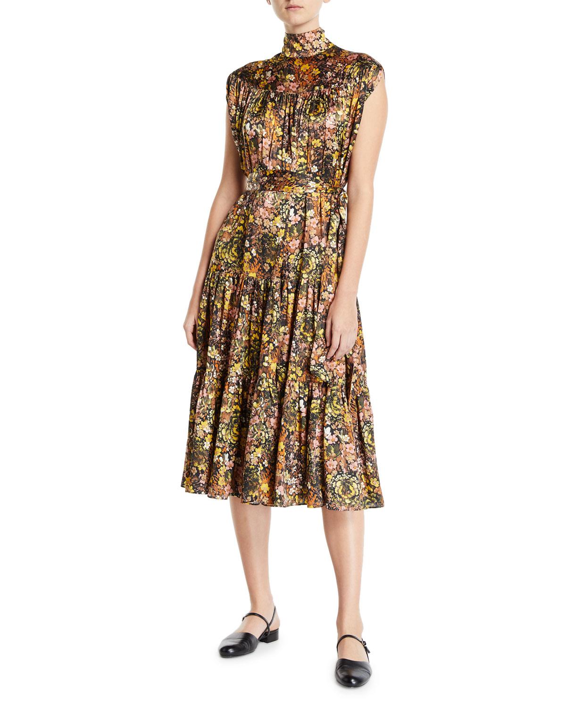 79eb0a6f85a Co Sleeveless Mock-Neck Floral Silk Dress