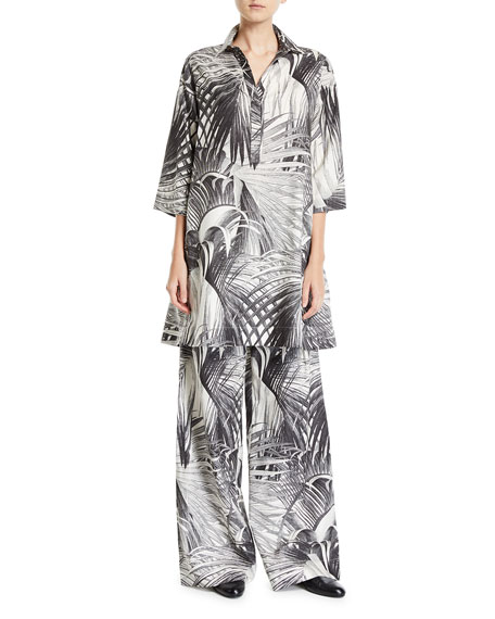Co Long-Sleeve Palm Print Tunic