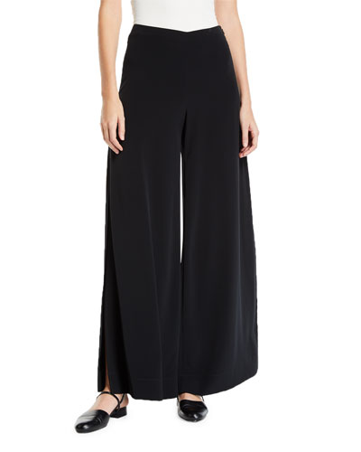Wide-Leg Side-Slit Trousers