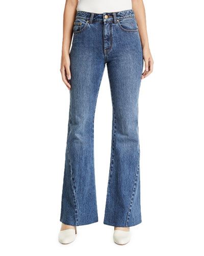 Bias-Seam Flared Jeans