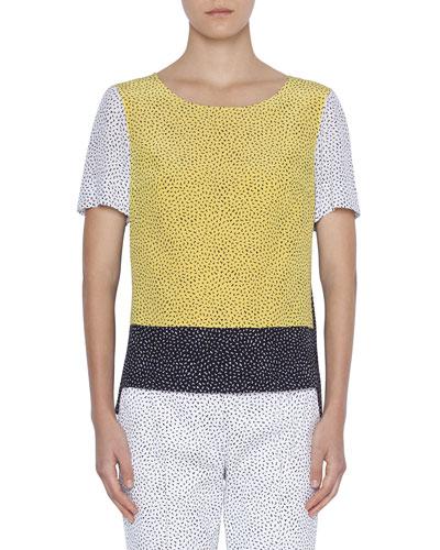 Silk Memphis Pattern Short-Sleeve Blouse