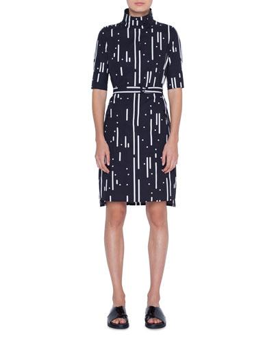 Cotton Mini Stand-Collar Dress