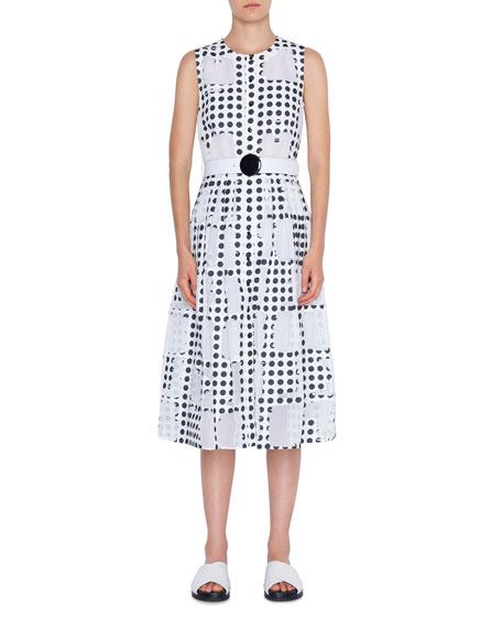 Akris punto Scoop-Neck Window Dot Belted A-Line Dress