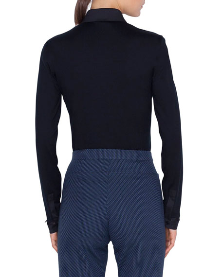 Akris punto Stretch-Cotton Kent-Collar Button Front Blouse