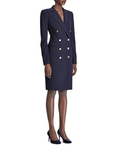 Ralph Lauren Collection Wellesley Double-Breasted Wool Coat Dress