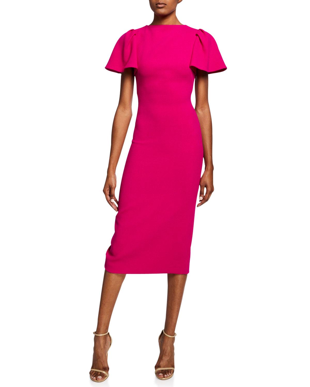 918d36c1f Brandon Maxwell Ruffle-Sleeve Wool Midi Cocktail Dress