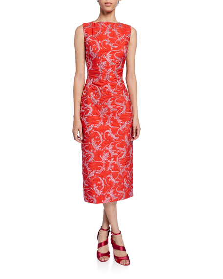 Brandon Maxwell Sleeveless Lizard Jacquard Dress