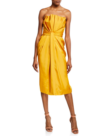 Brandon Maxwell Strapless Liquid Satin Cocktail Dress
