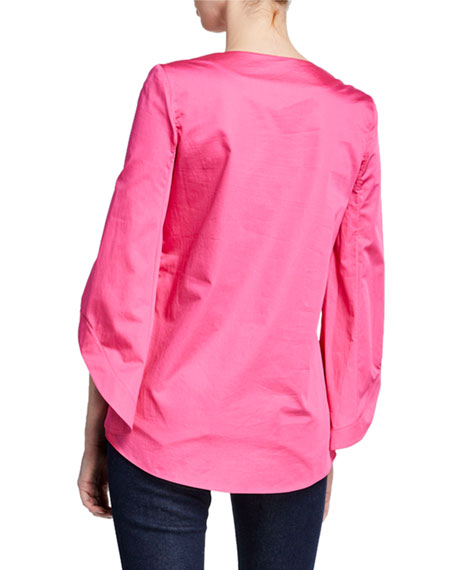 Brandon Maxwell 3/4-Sleeve V-Neck Shirting Blouse