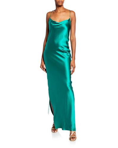 Yasmine Ruched Silk Satin Bodycon Dress