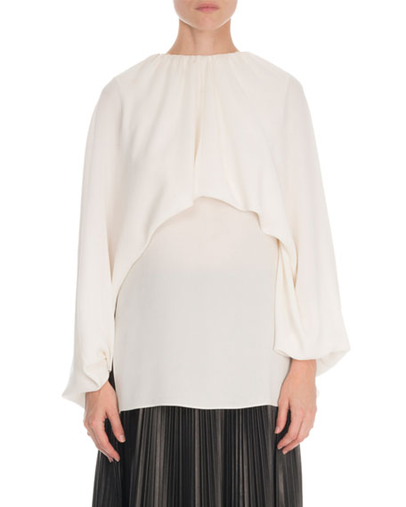 Valentino Long-Sleeve Gathered Georgette Shirt