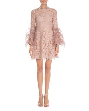 8a51b605d9b1 Valentino Feather-Cuff Heavy Lace Mini Dress